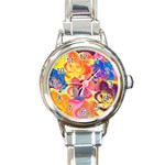 Pop Art Roses Round Italian Charm Watch Front