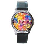 Pop Art Roses Round Metal Watch Front