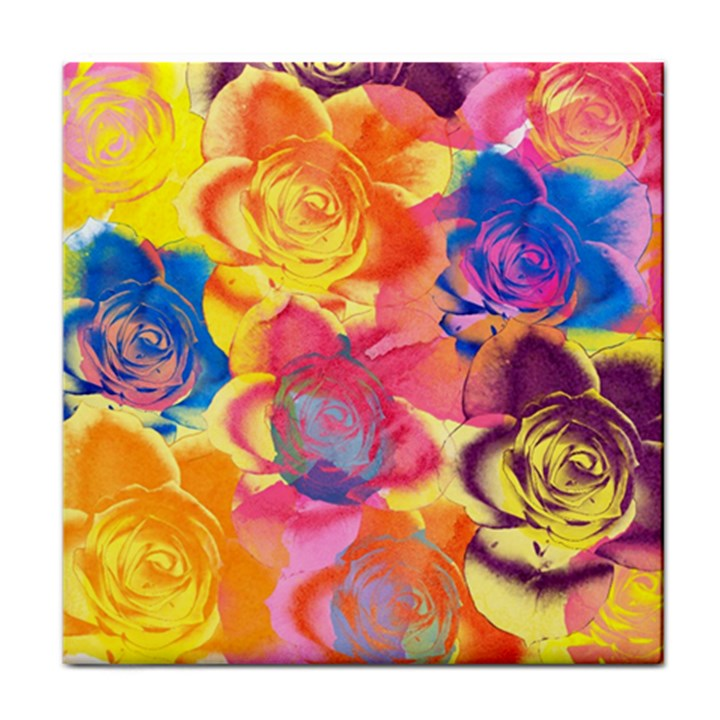Pop Art Roses Tile Coasters