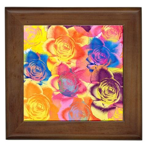 Pop Art Roses Framed Tiles