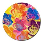 Pop Art Roses Round Mousepads Front