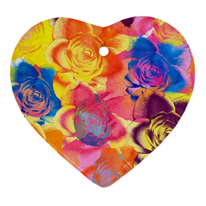 Pop Art Roses Ornament (Heart)