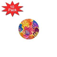 Pop Art Roses 1  Mini Magnet (10 pack)