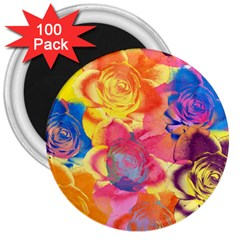 Pop Art Roses 3  Magnets (100 Pack)