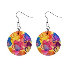 Pop Art Roses Mini Button Earrings