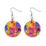 Pop Art Roses Mini Button Earrings Front
