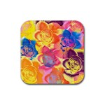 Pop Art Roses Rubber Square Coaster (4 pack)  Front