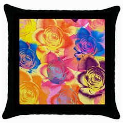 Pop Art Roses Throw Pillow Case (Black)