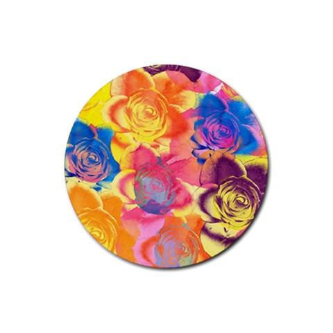 Pop Art Roses Rubber Coaster (Round)