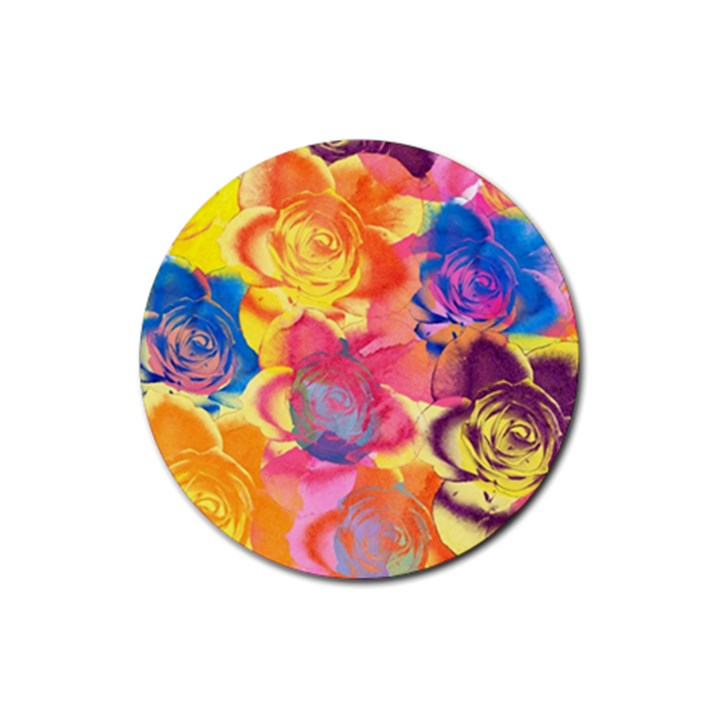 Pop Art Roses Rubber Coaster (Round)