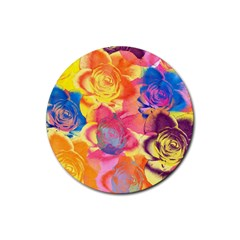 Pop Art Roses Rubber Round Coaster (4 Pack)