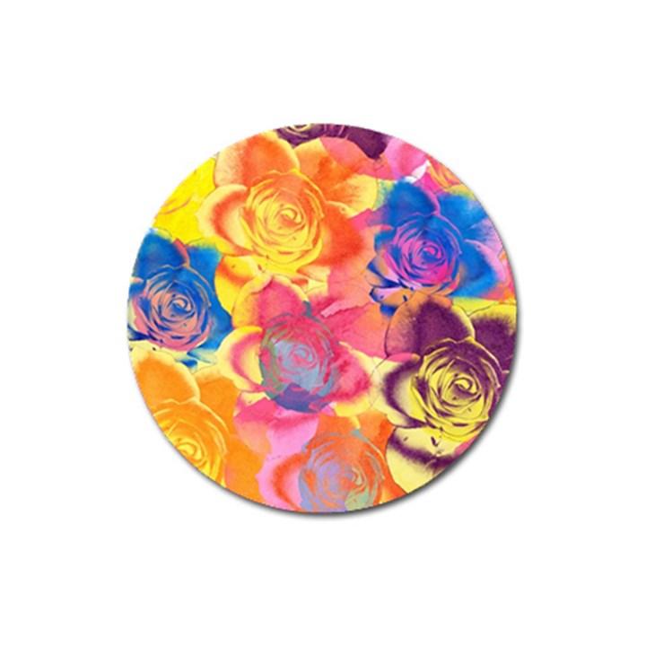 Pop Art Roses Magnet 3  (Round)