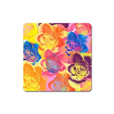 Pop Art Roses Square Magnet