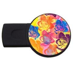 Pop Art Roses USB Flash Drive Round (2 GB)