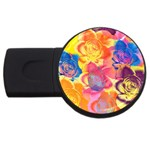 Pop Art Roses USB Flash Drive Round (1 GB)  Front