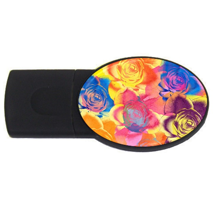 Pop Art Roses USB Flash Drive Oval (2 GB)