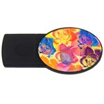 Pop Art Roses USB Flash Drive Oval (1 GB)  Front