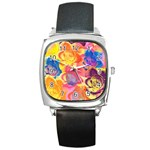 Pop Art Roses Square Metal Watch Front