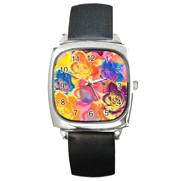 Pop Art Roses Square Metal Watch