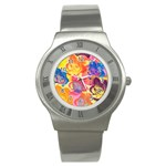 Pop Art Roses Stainless Steel Watch Front