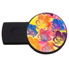 Pop Art Roses USB Flash Drive Round (4 GB)