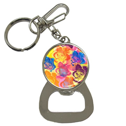 Pop Art Roses Bottle Opener Key Chains