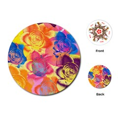 Pop Art Roses Playing Cards (round)
