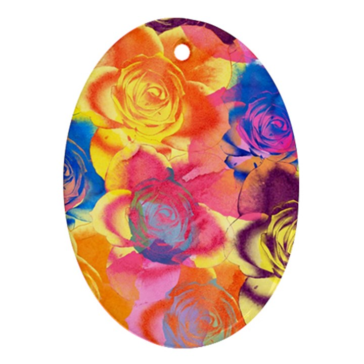 Pop Art Roses Oval Ornament (Two Sides)