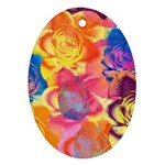 Pop Art Roses Oval Ornament (Two Sides) Back