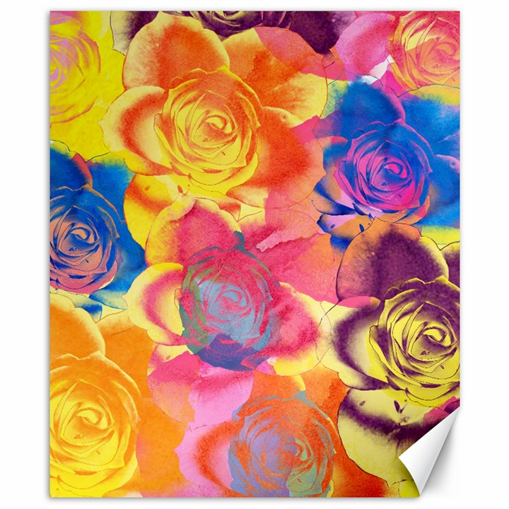 Pop Art Roses Canvas 8  x 10