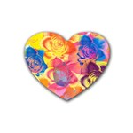 Pop Art Roses Rubber Coaster (Heart)  Front