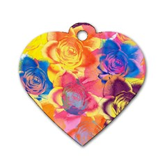 Pop Art Roses Dog Tag Heart (two Sides)