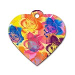 Pop Art Roses Dog Tag Heart (Two Sides) Back