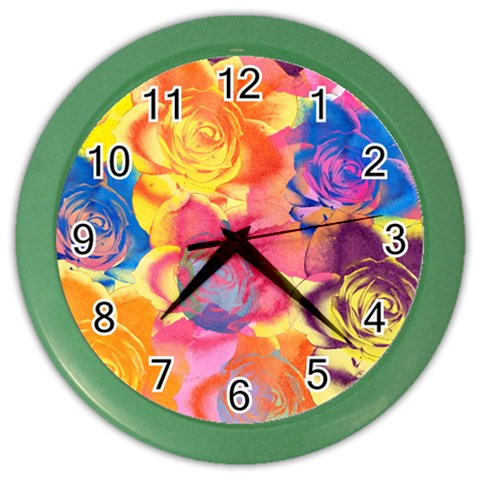 Pop Art Roses Color Wall Clocks