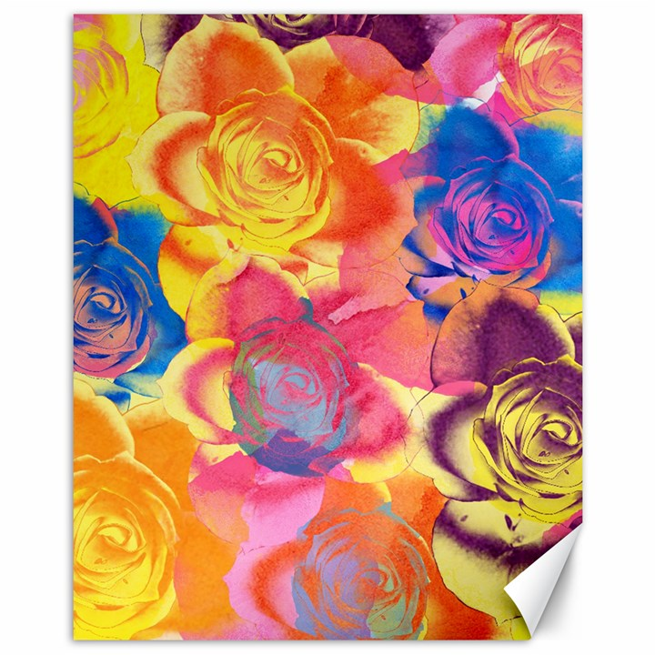Pop Art Roses Canvas 11  x 14
