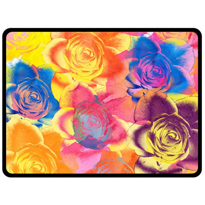 Pop Art Roses Fleece Blanket (Large)