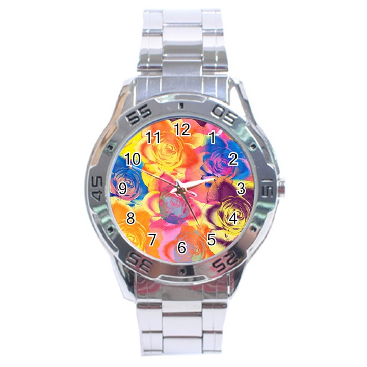 Pop Art Roses Stainless Steel Analogue Watch