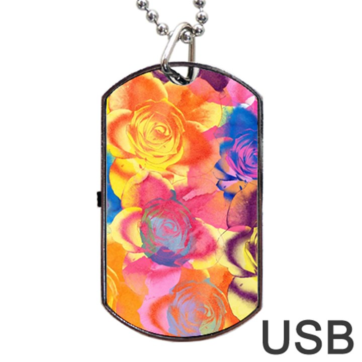 Pop Art Roses Dog Tag USB Flash (Two Sides)