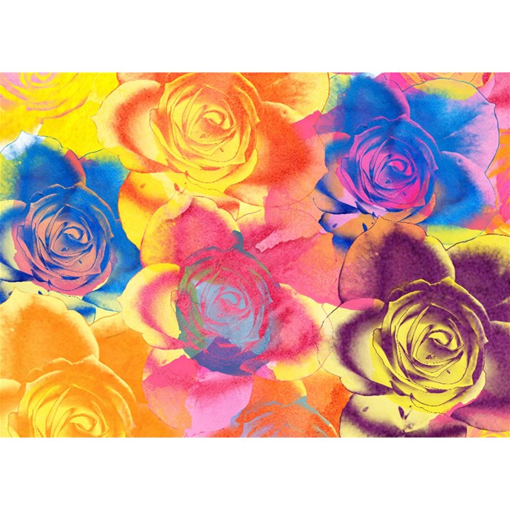 Pop Art Roses Birthday Cake 3D Greeting Card (7x5)