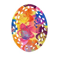 Pop Art Roses Ornament (oval Filigree)