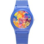 Pop Art Roses Round Plastic Sport Watch (S) Front