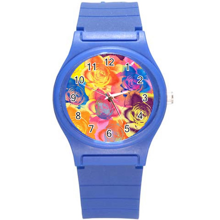 Pop Art Roses Round Plastic Sport Watch (S)