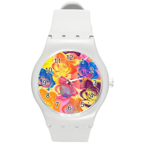 Pop Art Roses Round Plastic Sport Watch (M)
