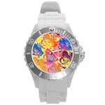 Pop Art Roses Round Plastic Sport Watch (L) Front