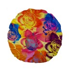 Pop Art Roses Standard 15  Premium Round Cushions Back