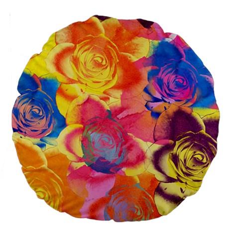 Pop Art Roses Large 18  Premium Round Cushions