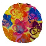 Pop Art Roses Large 18  Premium Round Cushions Back