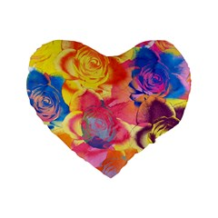 Pop Art Roses Standard 16  Premium Heart Shape Cushions