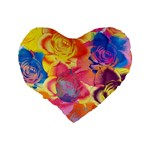 Pop Art Roses Standard 16  Premium Heart Shape Cushions Back