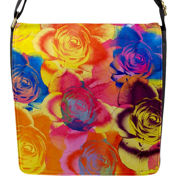 Pop Art Roses Flap Messenger Bag (S)